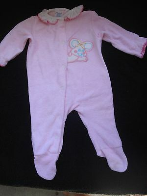 Vintage Carter's Infant Girl Footed Pink Sleeper Ruffle Neck Mouse Size M