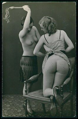 French nude Biederer Lebian big butt whip punishment old c1925 photo postcard
