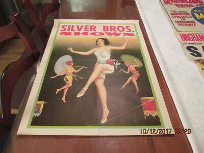 Silver Bros. Circus Poster  1930 Female Wire Walker  1/2 Sheet  Donaldson Litho