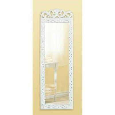 Distressed WHITE wood shabby vintage weathered antique look Wall hanging Mirror