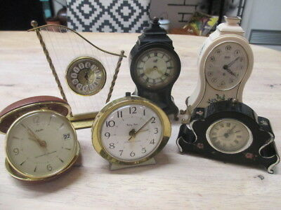 6 Lovely Vintage Clocks need All need TLC - Great for Parts/Restoration