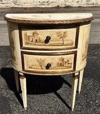 Antique Italian Paint Decorated Demilune End or Side Table