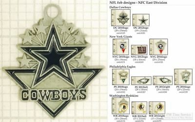 NFL team logo decorative fobs (NFC East), various designs & keychain options