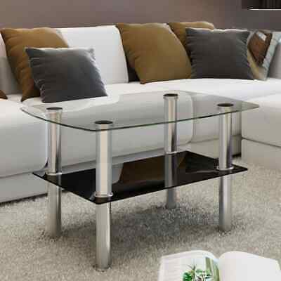 Modern High Gloss Glass Top Drop Coffee Table Side Dinner Office Home Bedside