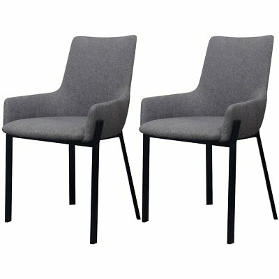 2pcs Light Grey Fabric Dining Cafe Chair Padded Steel Leg with Armrest Furniture