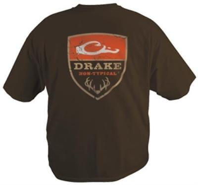 Drake Outdoors DT5000BRN Mens Small Waterfowl Non-Typical S/S Logo T-Shirt Brown