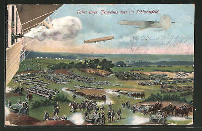 WW1 Germany Zeppelin air combat military  1915 postcard