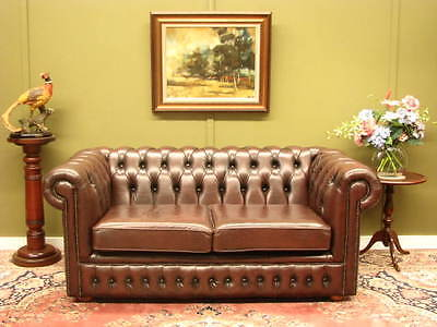 Australian Made Classic Chesterfield 2 Seater Sofa Couch #1 Full Leather In Vgc