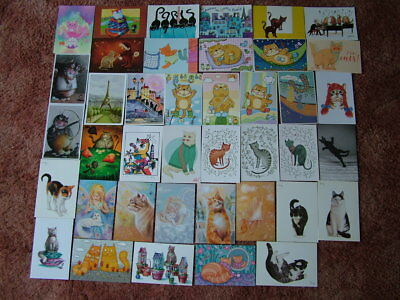 40 Unused DRAWING / CARTOON Postcards of CATS. Mint condition.