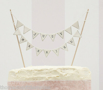 Ivory JUST MARRIED cake bunting wedding cake topper decoration