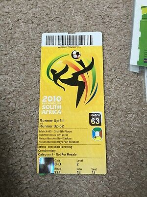 WORLD CUP 2010 3rd 4th PLACE TICKET URUGUAY GERMANY