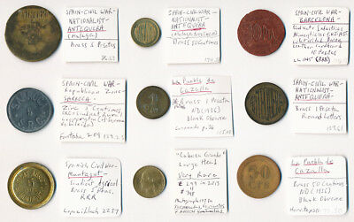 9 Spanish Civil War Tokens ## Some Very Rare Pieces Here Must See ## No Reserve