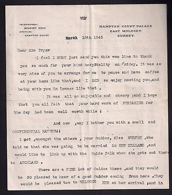 1945 - Boy Scout Girl Guide - Letter - Olave Baden Powell - Scarce - New Zealand