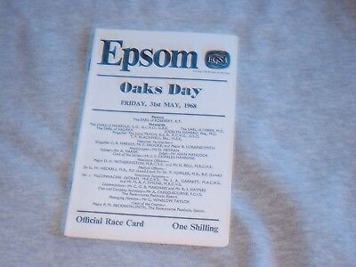 EPSOM  Race Card 1968 OAKS DAY