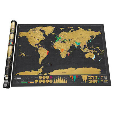 Deluxe Travel Edition Scrape Off World Map Poster Personalized Journal Log Gift