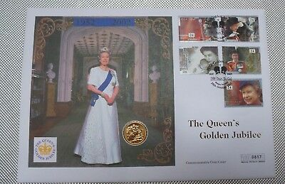 2000 First Day Cover Gold Bu Sovereign 2000 Queen Elizabeth Golden Jubilee