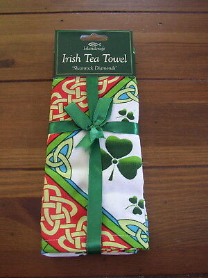 Islandcraft Irish Tea Towel, Shamrock Diamonds