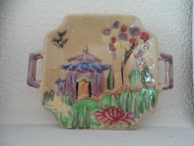 Vintage ORIENTAL style/ Pagoda  PIN DISH by Shorter and son, Soke on Trent