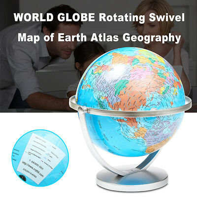 World Globe Earth Atlas Map With Rotating Desk Stand Geography Educational Toy
