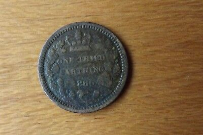 British Victorian One Third Farthing Coin 1866 Fine Grade Scarce Example.