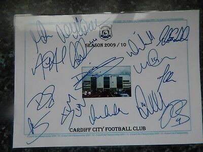 Cardiff City Football Club  2009/10  Championship Play Off Team Autographs