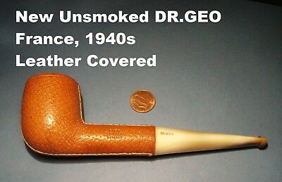 "NEW BRIAR FRANCE VINTAGE 40-50s ""Pipe Dr.GEO Deposee"" LEATHER COVERED+HORN STEM+"