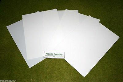 5 sheets of WHITE Plasticard Assorted Thicknesses – see decription