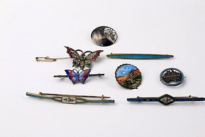 Lovely Collection of 8 x Vintage MIXED SILVER Brooches Various Designs Etc - 41g