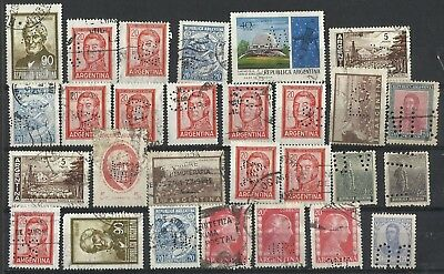ARGENTINA 28 Commercial Perfins VF