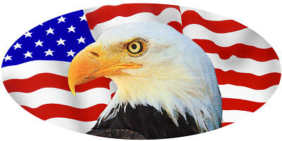Usa Flag Eagle Decal Bumper Stick Personalize Large Oval 4 5 X10