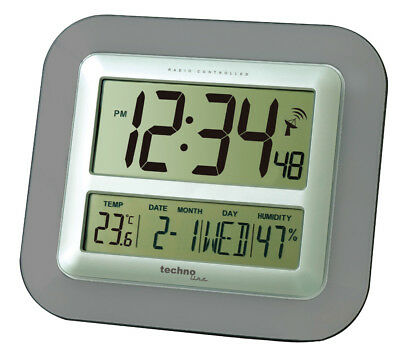 Technoline Ws 8006 Anthracite Jumbo Radio-Controlled Wall Clock Wall Clocks Date