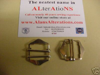 5 Rare British Quality Replacement Twin Slide Waistcoat Ladder Buckles In Chrome