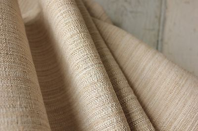 Vintage homespun cotton linen STRIATED 11.3 YARDS upholstery fabric 24.5 WIDE