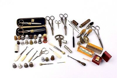 Large Collection of Vintage SEWING ACCESSORIES inc. THIMBLES, Scissors Etc