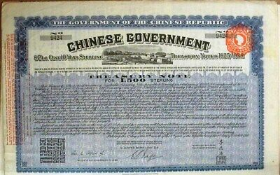 Chinese Govt. 1919 Sterling Loan Bond For £500, With 73 Coupons Rare!!