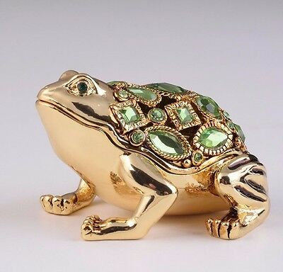 Gold Frog Faberge trinket box  hand made by Keren Kopal with Austrian crystals