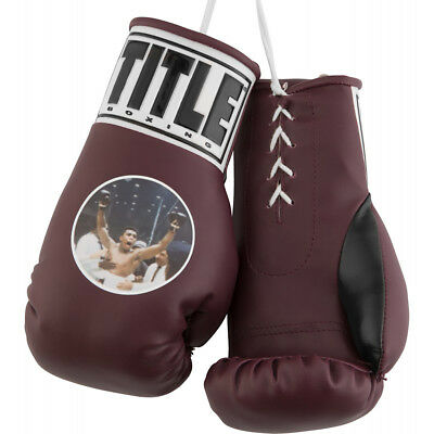 "Title Boxing 7"" Authentic ""Muhammad Ali"" Graphic Mini Lace Up Gloves - Maroon"