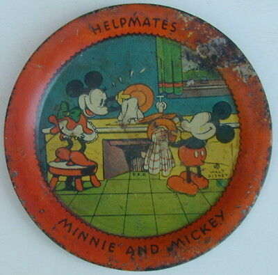 Old Original Minnie and Mickey Mouse Metal Tip Tray 1930's Walt Disney Very Rare