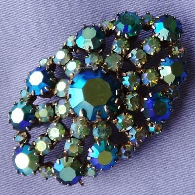 Vintage Blue Aurora Borealis Glass Stone Eye Shaped Brooch