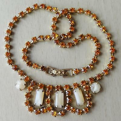 Vintage Topaz & Champagne Glass Stone Bib Necklace