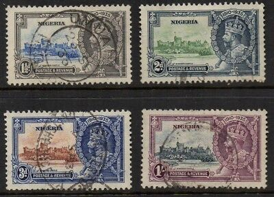 Nigeria, KG5, 1935, Silver Jubilee set of 4, good used, small thin on 1/-, sg 30