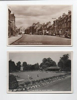 Early photo postcards High St Bowling Green Forfar Angus