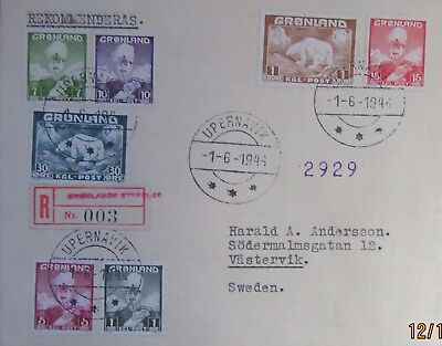 1944-1938  Greenland Sweden  1 5 7 10 15  Ore.1938 Pola Bear 1K 5 Pics (Siigned)