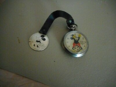 Vintage Ingersoll Mickey Mouse Pocket Watch w/embossed back LEATHER FOB w/MICKEY