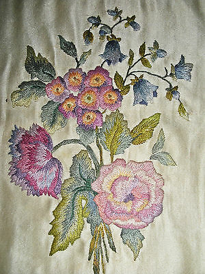 Very Beautiful Fine Antique Silk Embroidery on Silk c. 1900