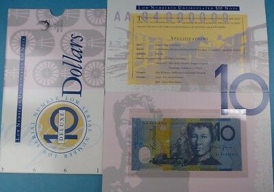 1994 Australia $10  Polymer Bank Note  Low Prefix Uncirculated In Delux Folder