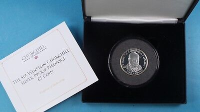 2015 Tdc Silver Proof Piedfort £5 Coin Winston Churchill Collection Cased & Cert