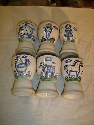 M A Hadley Country Scene 6 Egg Cups Lamb, Chicken, Pig, Horse Amish Couple  8509