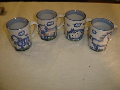 M A Hadley Country Scene 4 Mugs, 2 Chickens,  Pig,  & Lamb  8521