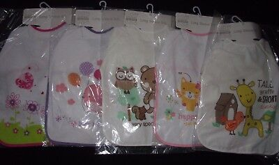 Job lot wholesale quality baby long sleeved terry bibs animals design x 5 BNWT